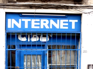 City store front with Internet store sign.
